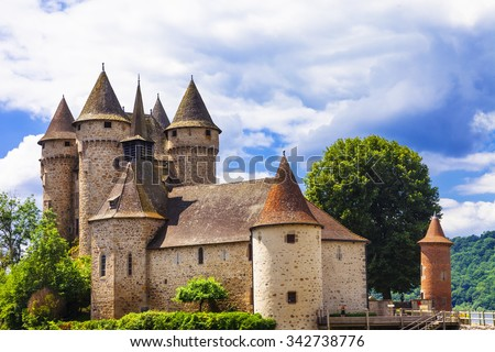beautiful medieval castles of France - Chateau de val - stock photo