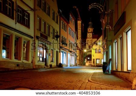 Beautiful medieval town of Rotenburg at night, Bavaria, Germany  - stock photo