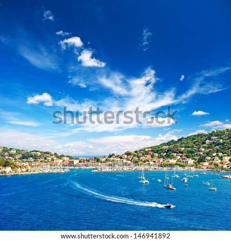 beautiful mediterranean landscape with blue sky. view of resort and bay of Cote d'Azur in Provence, France - stock photo
