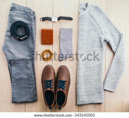 Beautiful Men Fashion Sweater Jeans Belt Stock Photo ...