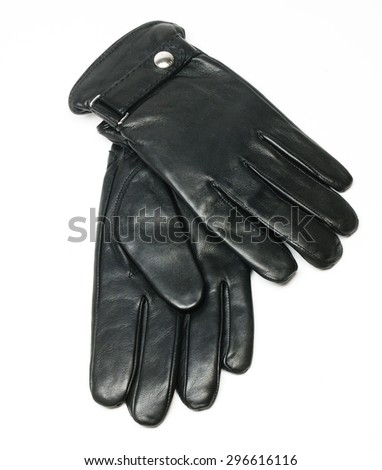 beautiful men leather gloves in plan isolated in a white background