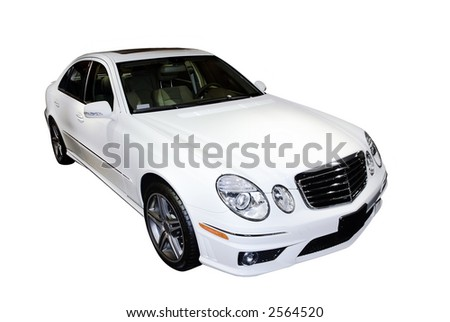 Beautiful  Mercedes E-class  luxury car isolated on a white background. Look in my gallery for more car photos like this.