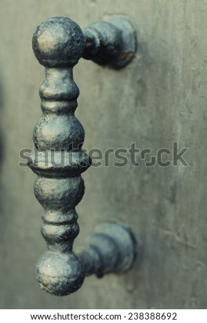 beautiful metal gate of ancient castle, Prague - stock photo