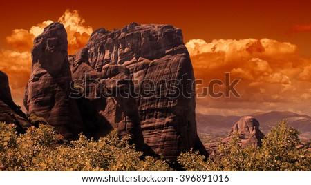 Beautiful Meteora cliffs at sunset, Greece - stock photo