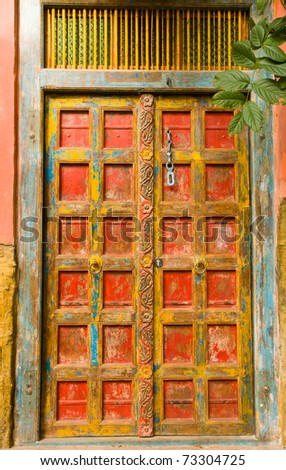 Beautiful mexican door - stock photo