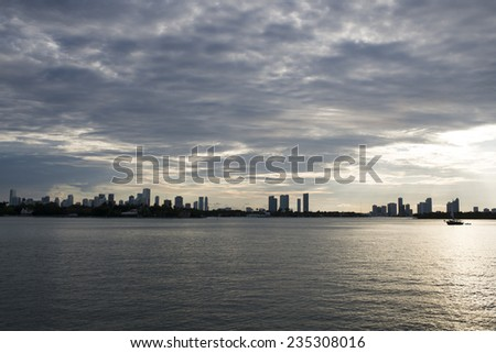beautiful miami cityscape, USA florida coast  - stock photo