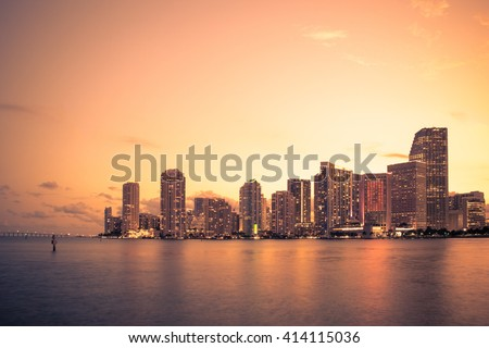 Beautiful Miami Florida skyline at sunset