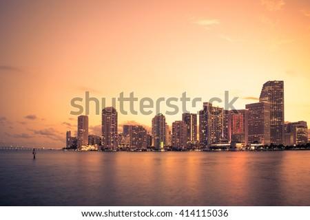 Beautiful Miami Florida skyline at sunset - stock photo