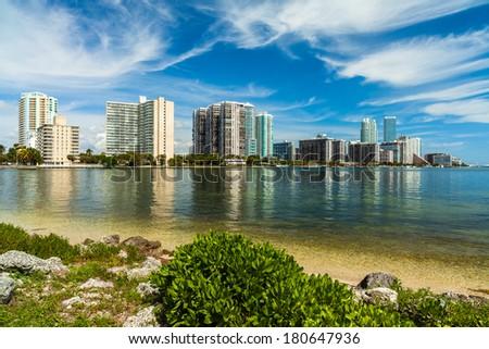 Beautiful Miami skyline along Biscayne Bay with tall Brickell Avenue condos. - stock photo