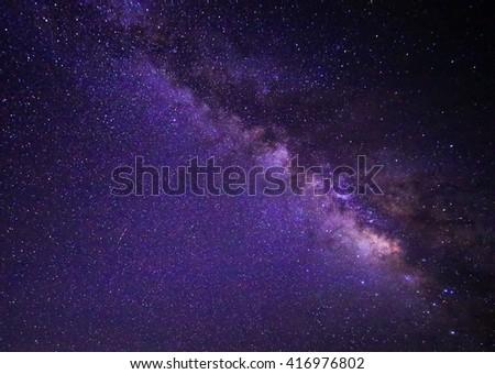 beautiful milkyway on a night sky - stock photo