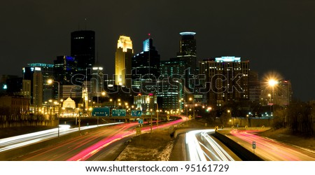 Beautiful Minneapolis Minnesota Cityscape at Nighttime