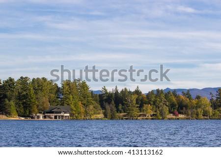 beautiful Mirror lake in Lake Placid, New York. - stock photo