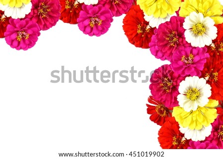 beautiful mix flowers frame isolated on a white background with copy space for design, valentine or wedding concept  - stock photo