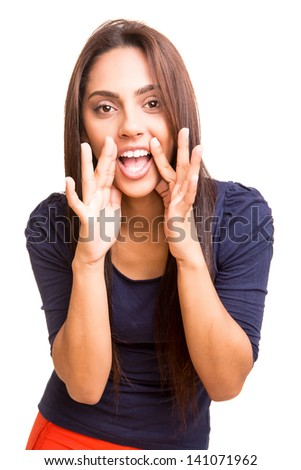 Beautiful mix race woman thinking over white background - stock photo