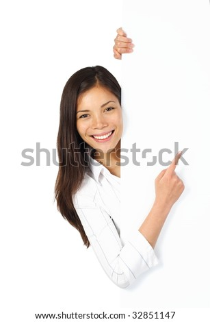 Beautiful mixed asian / caucasian woman holding blank sign. Isolated on white. - stock photo