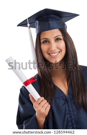Beautiful mixed race Mexican Japanese college graduate wearing cap and gown holding diploma isolated on white background - stock photo