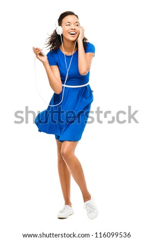 Beautiful mixed race woman dancing sexy blue dress isolated on white background - stock photo