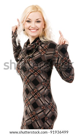 Beautiful model in brown knitted dress, white background - stock photo