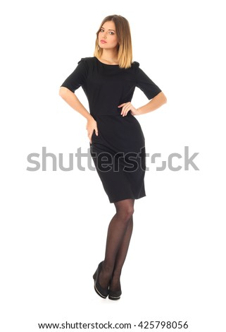 Beautiful model in dress isolated  - stock photo