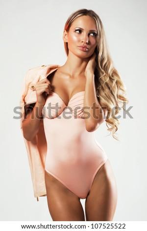 Beautiful model in fashionable clothing - stock photo