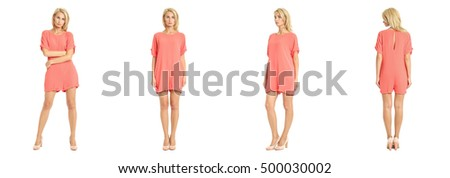 Beautiful model  isolated on white wearing coral overall