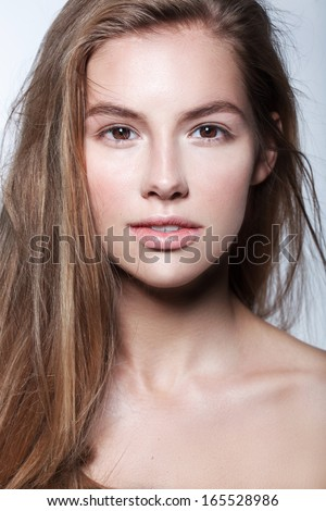 beautiful model lady with natural make-up and blonde hair studio fashion shot, perfect skin - stock photo