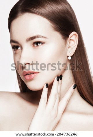 Girl Does Makeup On Light Background Stock Photo 389761657 Shutterstock