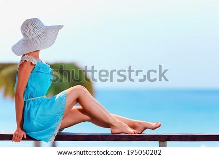 beautiful model on summer vacation - stock photo