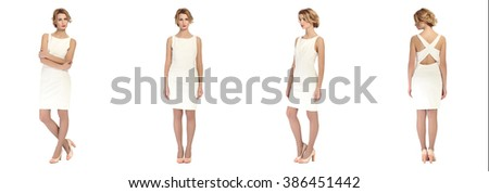Beautiful model on white isolated background in different poses
