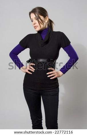 beautiful model posing - stock photo