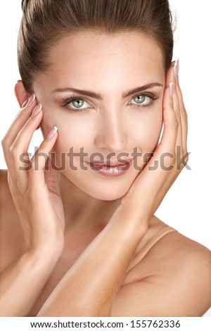 beautiful model showing her perfect skin face on white - stock photo