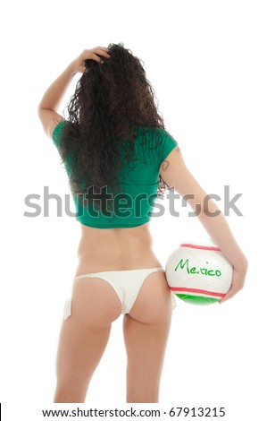 Beautiful model wearing green, red  and white underwear bikini holding a Mexico team ball isolated on white