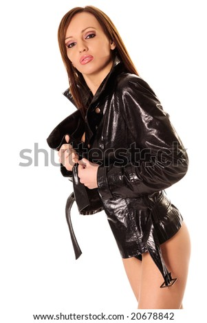 Beautiful  model with black leather jacket