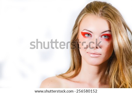 Beautiful Model With Long Blonde Flowing Hair - stock photo
