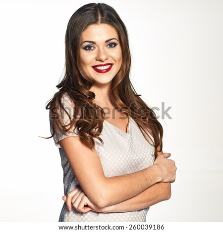 Beautiful model with long hair studio portrait on white background. isolated.