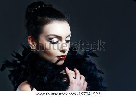 beautiful model with perfect evening make up and red lips - stock photo