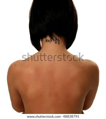 beautiful model with tattoo on her neck isolated on white