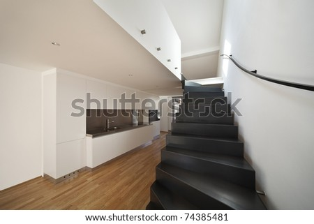 beautiful modern apartment, stairs view