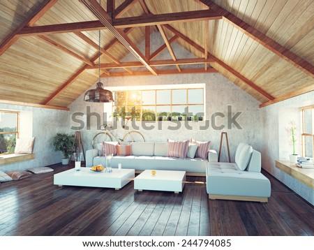 Beautiful Modern Attic Interior 3 D Design Stock Illustration