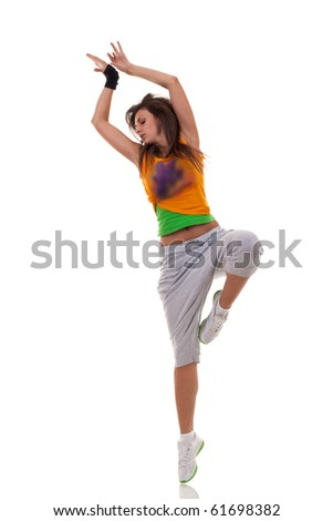 beautiful modern ballet dancer posing on white background