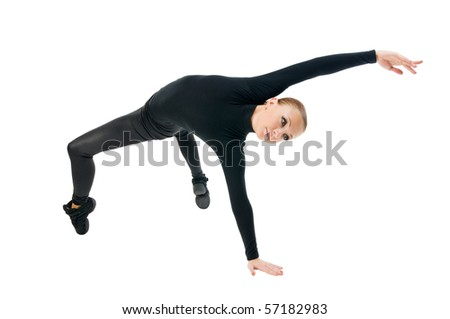 Beautiful modern dancer performing on white background