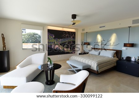 Beautiful modern furniture in a master bedroom suite