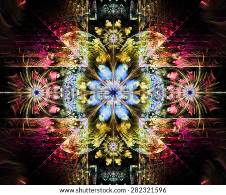 Beautiful modern high resolution abstract fractal background with a detailed flower pattern and detailed crystal shaped geometric decoration, all in bright red,yellow,blue,pink - stock photo