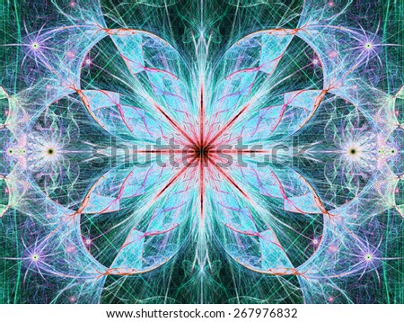 Beautiful modern high resolution abstract fractal background with a detailed large central flower with crystal shaped twisted geometric leaves, all in bright vivid glowing blue,pink,red - stock photo