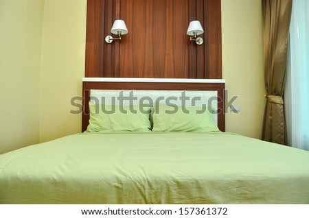 Beautiful modern home and hotel bedroom interior design - stock photo