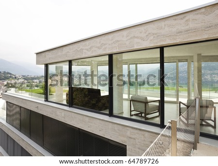 beautiful modern house, exterior windows - stock photo