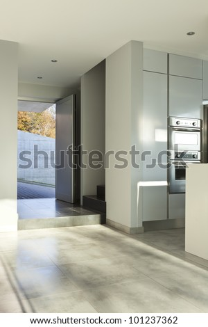 beautiful modern house, view of the kitchen, detail - stock photo