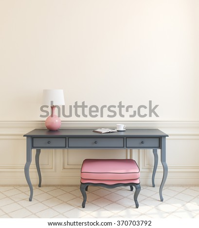 Beautiful modern interior with gray table and pink ottoman near empty beige wall. 3d render. - stock photo