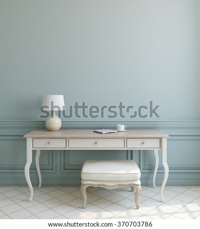Beautiful modern interior with white table and ottoman near empty blue wall. 3d render. - stock photo