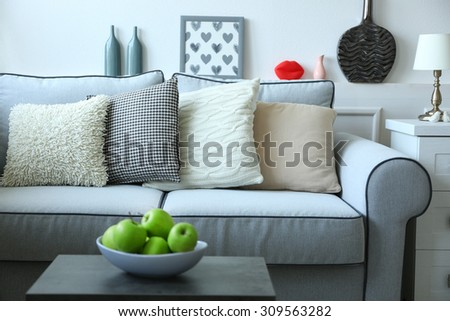 beautiful beige living room grey sofa. Beautiful Modern Living Room With Grey Sofa Beige